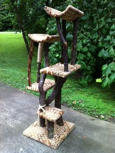 Rustic & Unique Cat Tree by FurwoodForest on Etsy - If I were talented enough, I'd make one of these. Max would love it.