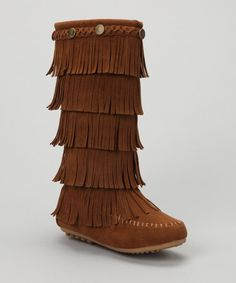 Tan Tiered Fringe Boot by Shoes of Soul on #zulily today!