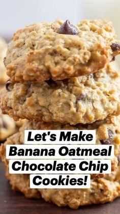 Banana Oatmeal Chocolate Chip Cookies, Banana Cookie Recipe, Oatmeal Breakfast Cookies, Breakfast Cookie Recipe, Healthy Oatmeal Cookies, Healthy Cookie Recipes, Oatmeal Cookie Recipes, Fun Baking Recipes, Healthy Baking