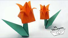 Origami Tulpe 🌷 falten - Blumen basteln mit Papier