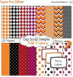 50% OFF TODAY Halloween Digital Papers Black, Orange, Red, Purple, Houndstooth, Chevron,  Fall / Autumn Teacher,  Card Making, Crafts, Chevron  #Scrapbooking #Autumn #Fall #Scrapbookingkits #DigiScrapDelights #Thanksgiving