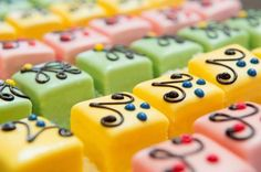 Colorful Petit fours for the party. Many colorful petit fours with marzipan and , Hungarian Cake, Hungarian Recipes, Marzipan, Mini Cakes, Cupcake Cakes, Chocolates, Different Types Of Cakes, Pastry Design, Baking Classes