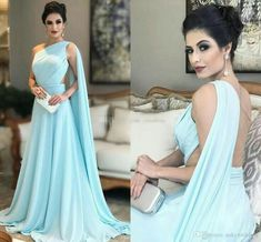 Light Sky Blue Evening Dresses One Shoulder Pleated Chiffon Saudi Arabic Prom Dresses Illusion Back Floor Length Women Formal Party Gowns Chiffon Evening Dresses, Formal Evening Dresses, Prom Dresses, Ladies Dresses, Dresses Uk, Formal Gowns, Bridesmaid Dresses, Long Dresses, Elegant Evening Gowns