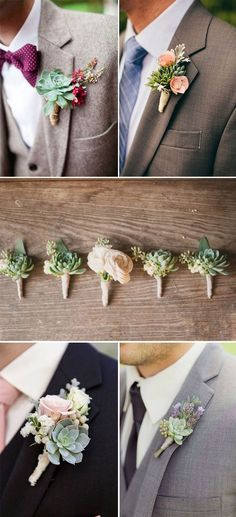46 Best Ideas to Incorporate Succulents into Your Weddings DIY succulent groom and groomsmen Boutonnieres Succulent Boutonniere, Succulent Bouquet, Boutonnieres, Wedding Bouquets With Succulents, Succulents Diy, Perfect Wedding, Dream Wedding, Wedding Day, Wedding Dreams