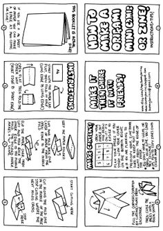 how to make a mini-zine THis is a good template, with great directions, but I liked it more before I realized that he liberally copied both text and drawings from another artist, without acknowledging his source.