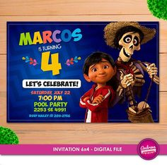 coco invitation coco birthday coco invite coco party