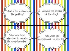 Common core aligned reading task cards! Awesome for guided reading groups/small groups. 32 different questions and cute rainbow stripes!