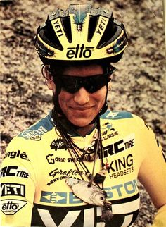 Missy Giove, downhill mountain biking champion - note the dried piranha on leather cord around her neck