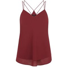 Petite Burgundy Double Strap Layered Cami (£13) ❤ liked on Polyvore featuring tops, cami, shirts, tank tops, burgundy, petite, red v neck shirt, petite shirts, camisoles & tank tops and petite tops