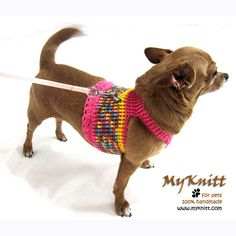 Pink fashion dog harness favorite choice for your puppies, small dogs or teacup chihuahua. This pet harness is handmade crocheted and designed by Myknitt