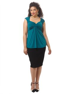 Marilyn Top In Bombay Teal by @IGIGI Available in sizes 12-32