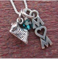 Pekingese Mom Mini Sterling Silver Necklace, Dog Park Publishing