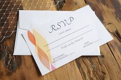 RSVP card by A Tactile Perception. Origami-inspired wedding invitations with custom designs.