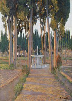 The Athenaeum - Golden Cypresses (Santiago Rusiñol Prats - )