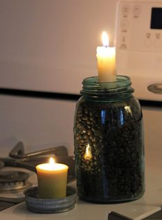 Coffee and candles in mason jar.