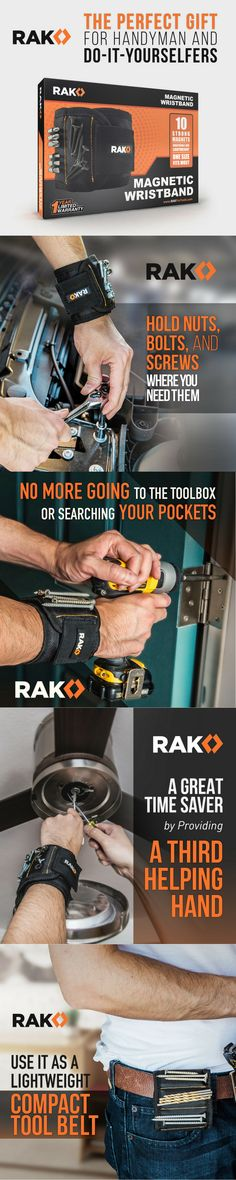 RAK Magnetic Wristband (1 Pack) with Strong Magnets for Holding Screws, Nails, Drill Bits - Best Unique Tool Gift for DIY Handyman, Father/Dad, Husband, Boyfriend, Men, Women (Black) www.rakprotools.com