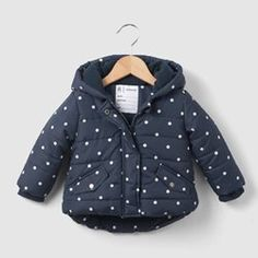 Polka Dot Print Fleece-Lined Padded Jacket, 1 Month-3 Years R essentiel - Baby Girls Clothing