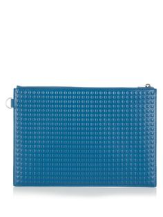 BALENCIAGA Grid-Embossed Leather Pouch. #balenciaga #bags #leather #lining #canvas #pouch #accessory