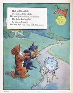 """Digital scan of """"High diddle diddle"""" illustration by Frederick Richardson from Mother Goose, Volland Popular Edition Nursery Rhymes Lyrics, Old Nursery Rhymes, Hey Diddle Diddle, Pomes, Vintage Nursery, Mother Goose, Children's Literature, Little Dogs, Vintage Children"""