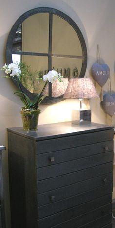 Miroir oeil de boeuf rond pomax objet zinc pi ce bien for Miroir jardin d ulysse