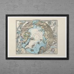 ANTIQUE ARCTIC POSTER - Professional Reproduction - Travel Wall Art North Pole Map Travel Poster Map Print North Pole Map Wanderlust Art