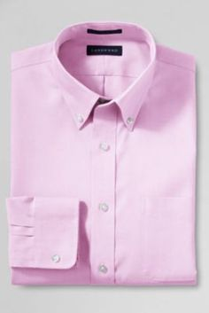 Men's Tailored Fit Solid No Iron Supima Pinpoint Buttondown Dress Shirt