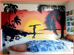 Using an inexpensive paint sprayer and an overhead projector, it's possible to make large murals-surf theme room by Burlap and Denim