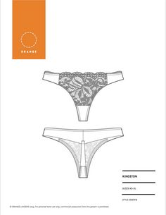PDF sewing pattern for thong underwear designed for style and comfort by Orange Lingerie - Kingston Thong