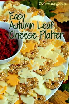 Easy Autumn Leaf Wreath Cheese Platter. Can be made 2-3- days ahead. www.theyummylife.com/Leaf_Cheese_Platter
