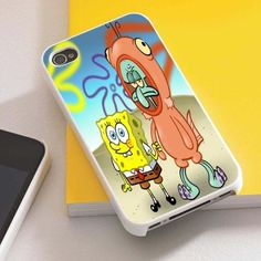 spongebob and squidward for iphone 4/4s,5/5s,5c and galaxy s3,s4,bbz10 case