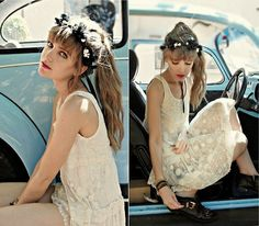 flowers in hair, light colors, punk shoes