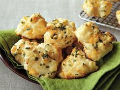 Cheddar Drop Biscuits. I add about a 1/4 tsp garlic powder and salt to the mixture. (Don't over mix.) I use a cookie scoop, which makes a great size. Finish off with a little sprinkle of sea salt...YUM-O!