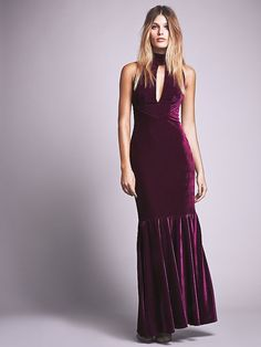 Veuve Velvet Dress | Super luxe sleeveless velvet maxi dress featuring mock neck and deep keyhole cutout at the bust. Back zip for an easy wear.