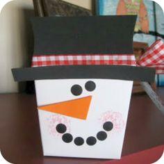 Take out box snowman! Cute gift wrap idea.