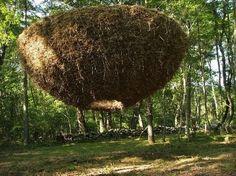 Karin van der Molen:Heaven on earth,hay, rebar, jute. I-Park Environmental Biennial, East Haddam, United States, 2009