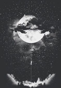 Boy climbing up to the moon surreal art
