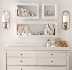 Organizing in Style: Shabby Chic Storage Ideas (image by RH Baby & Child) Baby Room Shelves, Shabby Chic Bedrooms, Baby Room Storage, Shabby Chic Baby Room, Nursery Changing Table, Shabby Chic Storage, Baby Decor, Home Decor, Shabby Chic Homes