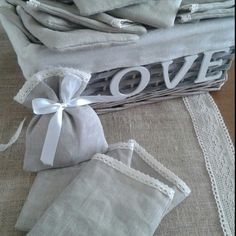 Linen favour bags made with love.
