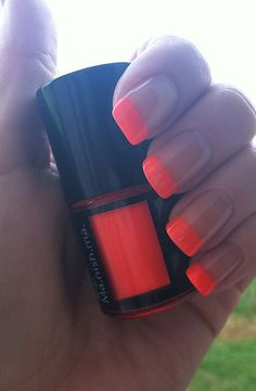 Neon French Tips. Love this color for summer________buy me this nail polish i love it so much