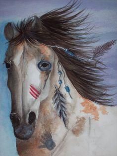 Items similar to horse painting - Worrior - Native American War Horse in Watercolor - print - horses on Etsy Native American Horses, Native American Pictures, Native American Beauty, American Spirit, American Indian Art, Native American History, American War, Native Indian, Native Art