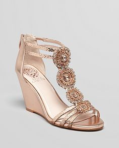 Vince Camuto Pink Wedges T Strap Jeweled Zimily Wedding Wedges, Gold Wedding Shoes, Gold Shoes, Bridal Shoes, Bridal Wedges, Rose Gold Wedges, Pink Wedges, Summer Wedges, Fancy Shoes
