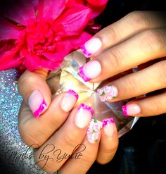 Gel nails with a little twist. Marble effect!! With hand made painted roses...  ALL GEL!!
