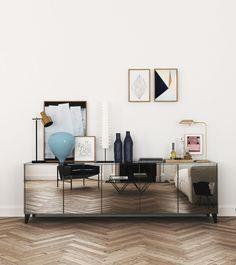 Gorgeous mirrored sideboard / buffet — Modern Barcelona Apartment By Katty Schiebeck 147 – Interior design Photo Gallery