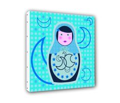 Table Canvas Russian doll blue