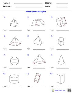 Identifying Solid Figures Worksheets