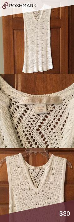 """NWOT Boston Proper Sleeveless Sweater Tunic. Boston Proper Sleeveless V-neck Sweater Tunic.   Color - White.  It's a crocheted type of tunic.   Excellent Condition - Never Worn!   I have two of them - one Size Large, the other Size X-Large.   Length from shoulder to hem is approximately 31-1/2"""".   Armpit to armpit (unstretched) measures approximately 16"""" (x-Large),  15"""" (Large).  These run small - The Large fits like a Medium & the X-Large fits like a Large. Boston Proper Tops Tunics"""