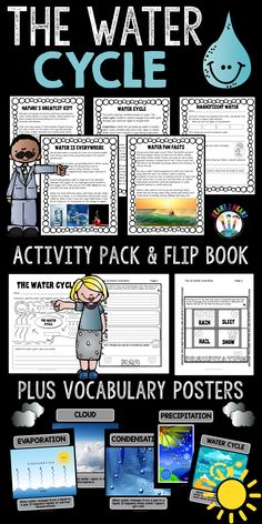 Water Cycle Mini-Unit with Activities & Flip Book for Science Centers! Fourth Grade Science, Elementary Science, Science Classroom, Teaching Science, Science For Kids, Earth Science, Primary Science, Science Curriculum, Physical Science