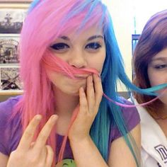 #pink & #blue #dyed #scene #hair #pretty