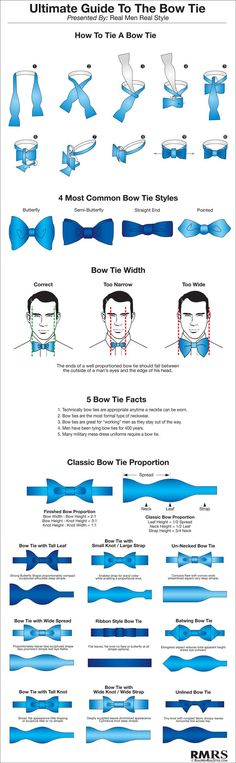 How To Tie A Bow Tie Step By Step. Real Men Real Style Guide To Tying Bowties. Proportions and different Bow-tie Style infographics. Mode Style, Style Blog, Real Men Real Style, Real Man, Der Gentleman, How To Make Bows, How To Wear, Gentlemans Club, Tie Styles