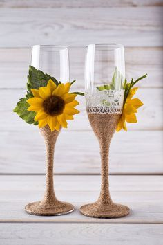 Wedding Champagne Glasses Sunflower by InesesWeddingGallery